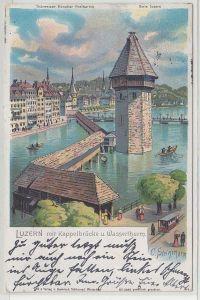 68261 Ak Luzern mit Kappelbrücke und Wasserturm 1903