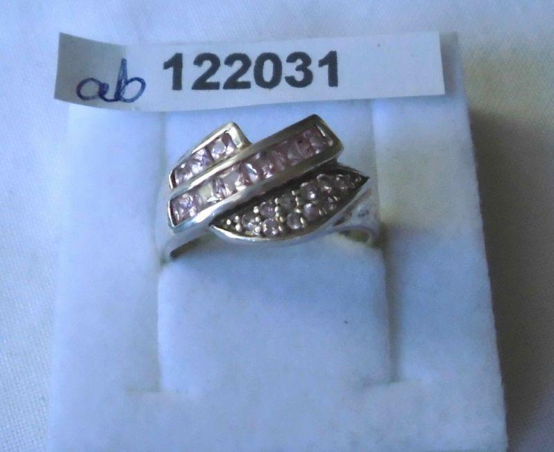 Bezaubernder Damen-Ring Silber 925  mit vielen kleinen rosa Steinen (122031)