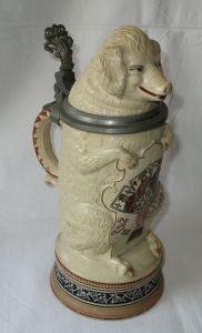 Seltener Bierkrug Skat Schweinespielclub R. Merkelbach Sternmarke 1895 (106369)