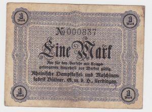 1 Mark Banknote Maschinenfabrik Büttner GmbH Uerdingen um 1920 (130115)