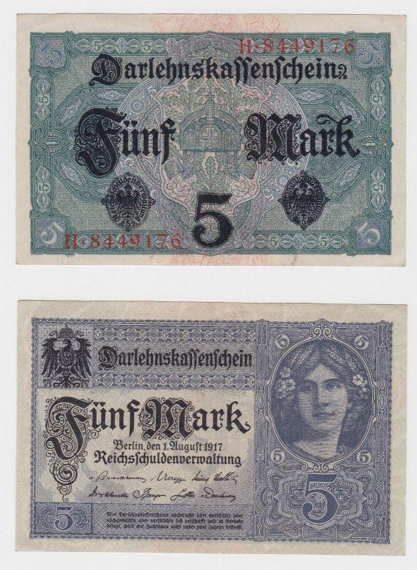 5 Mark Darlehenskassenschein Deutsches Reich 1.8.1917 Ro.54 a (131100)