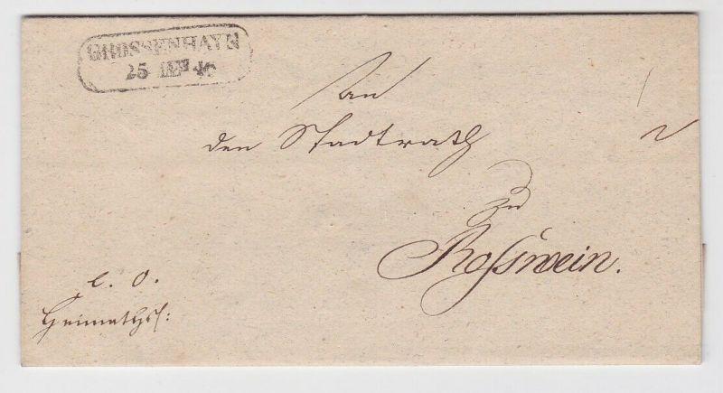 80588 Vorphilatelie Siegelbrief von Grossenhayn nach Rosswein 1846