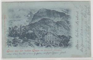 14180 Mondscheinkarte Gruß aus der hohlen Gasse bei Küssnacht (Schweiz) 1899