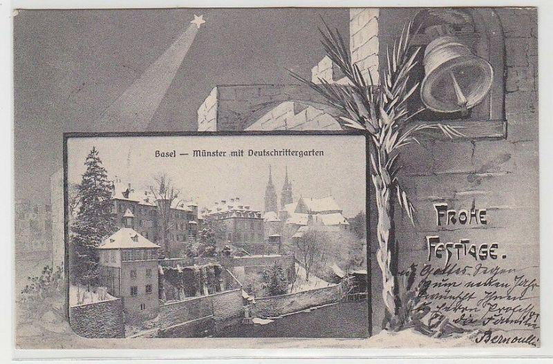 68767 Frohe Festtage Ak Basel Münster mit Deutschrittergarten 1904