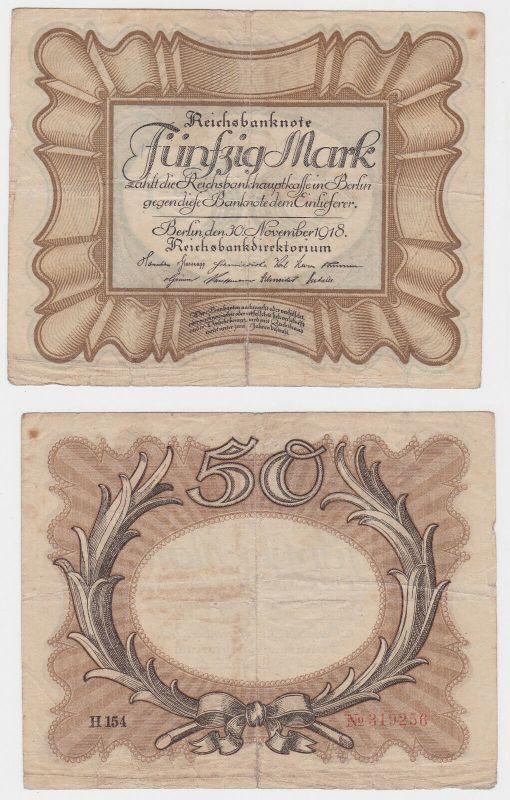 50 Mark Banknote Deutsches Reich 30.11.1918 Eierschein Rosenberg 57 (130470)