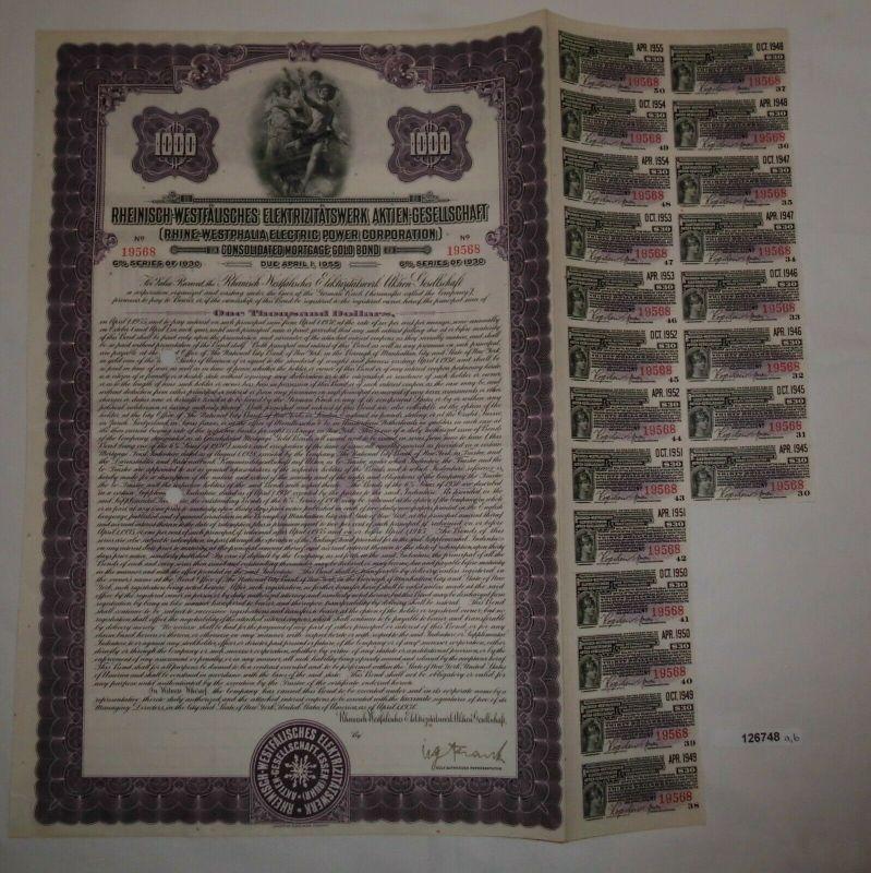 1000 Dollar Aktie Rheinisch-Westfälisches Elektrizitätswerk AG 1.4.1955 (126748)