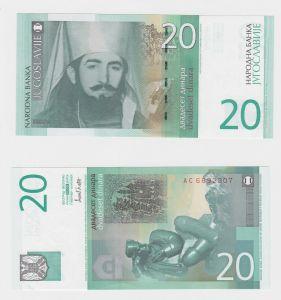 20 Dinar Banknote Jugoslawien 2000 kassenfrisch UNC (130474)