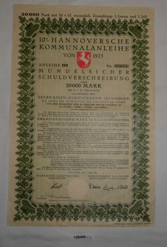 20000 Mark Schuldverschreibung Hannoversche Kommunalanleihe 1.4.1923 (128458)