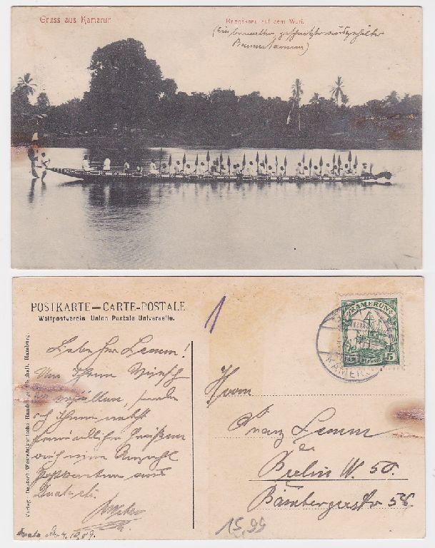89978 Ak Gruß aus Kamerun Kriegskanu auf dem Wuri 1909