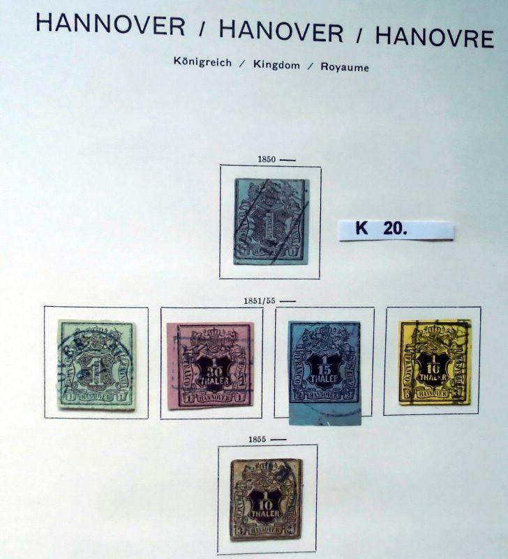 Schöne hochwertige Briefmarkensammlung Hannover 1850 bis 1864