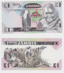 1 Kwacha Banknote Zambia Sambia kassenfrisch UNC (130073)