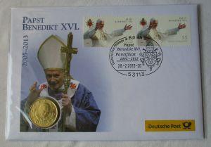 Numisbrief Papst Benedikt XVI mit 50 Cent Vatikan 2012 (123686)