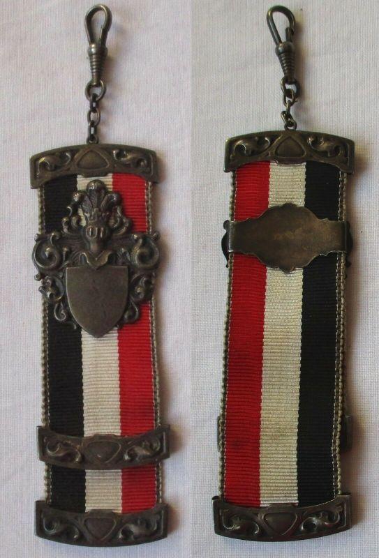 Alter Studentika Bierzipfel Wappen ohne Gravur schwarz weiß rot um 1910 (116700)