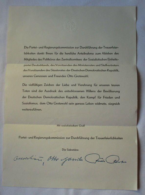 DDR Dokument zur Beisetzung des Genossen Otto Grotewohl 1964 (115632)