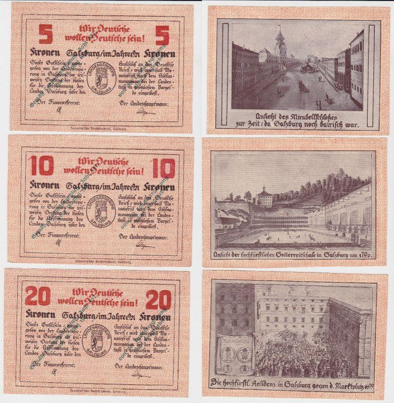Regionalausgaben Notgeld ab 1914 Salzburg Land 5,10,20 Kronen 1921 (130517)