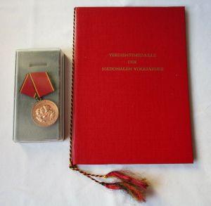 DDR Verdienstmedaille d. NVA Nationale Volksarmee Bronze + Urkunde 1974 (113485)
