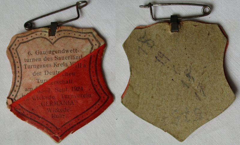 Seltenes Papp Abzeichen Turnverein Wickede Ruhr 1924 (114641)