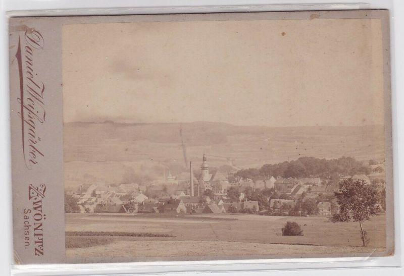 84639 Foto Zwönitz Sachsen Totalansicht um 1900 von Fotograf Daniel Weissgärber
