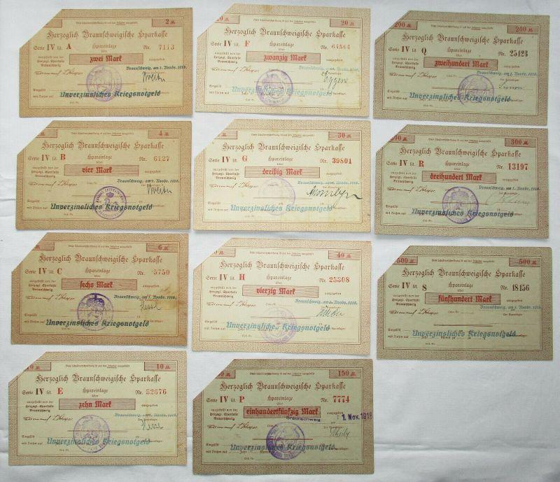 11 Banknoten 2 bis 500 Mark herzogliche Braunschweigische Sparkasse 1918(125628)