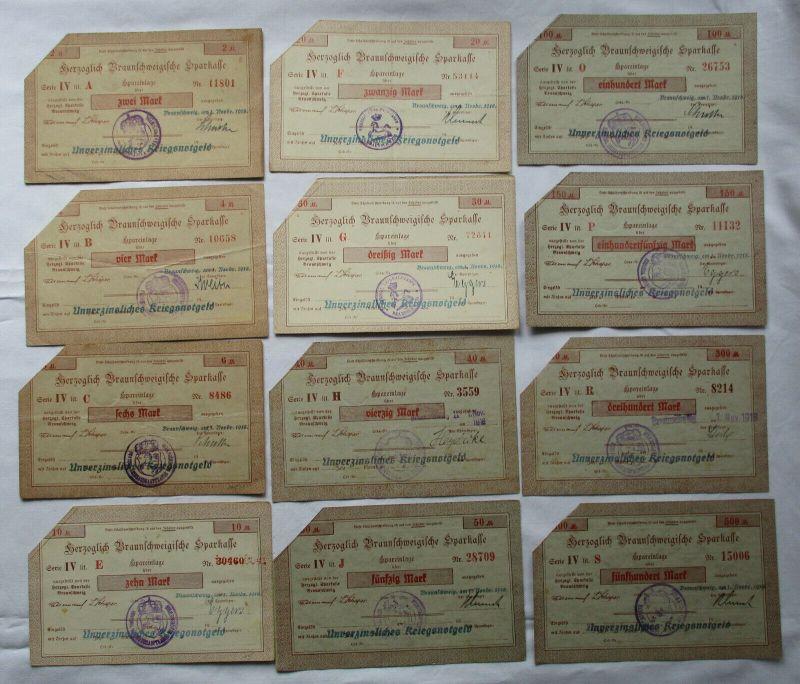 12 Banknoten 2 bis 500 Mark herzogliche Braunschweigische Sparkasse 1918(125603)