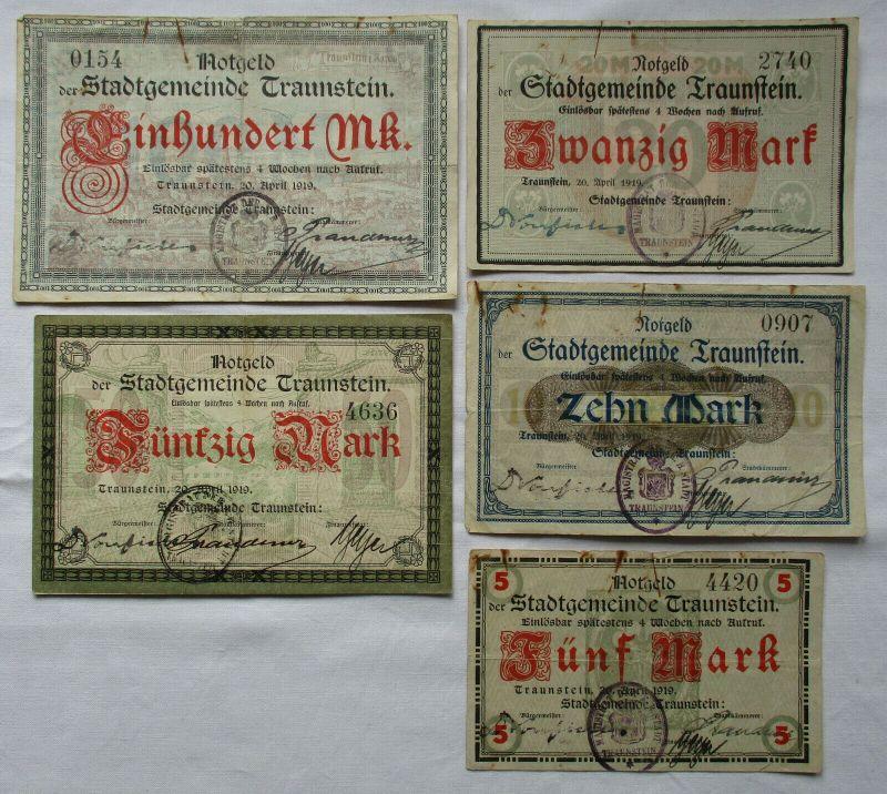 5 Banknoten Notgeld Stadtgemeinde Traunstein 20.April 1919 (125183)