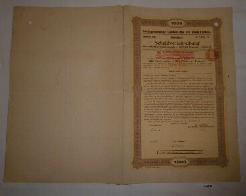1000 RM Schuldverschreibung Goldanleihe Stadt Emden 1. Juni 1926 (126732)