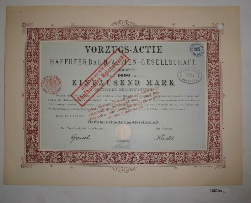 1000 Mark Aktie Haffuferbahn AG Elbing 1. April 1899 (126739)