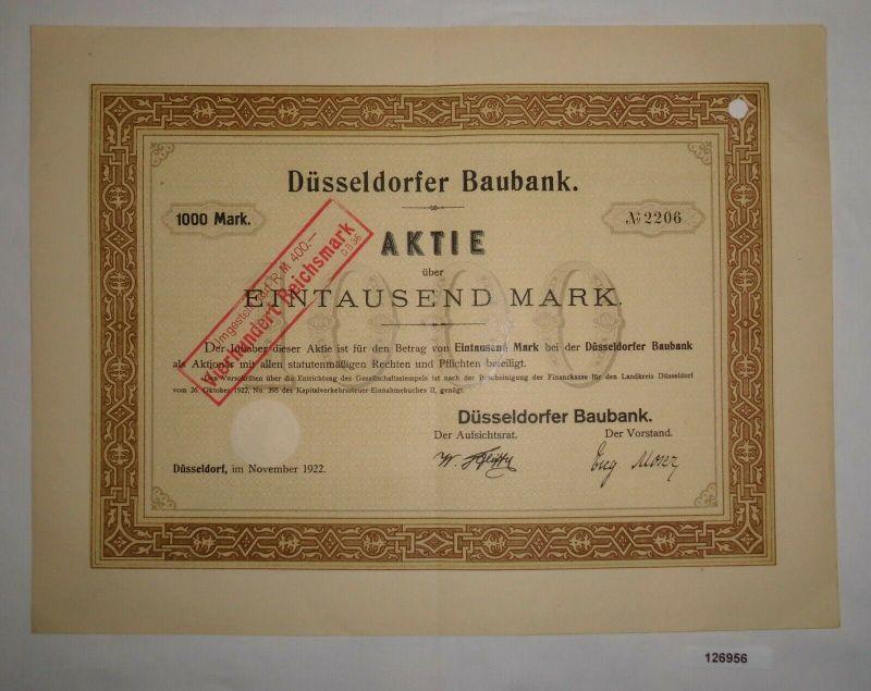 1000 Mark Aktie Düsseldorfer Baubank November 1922 (126956)