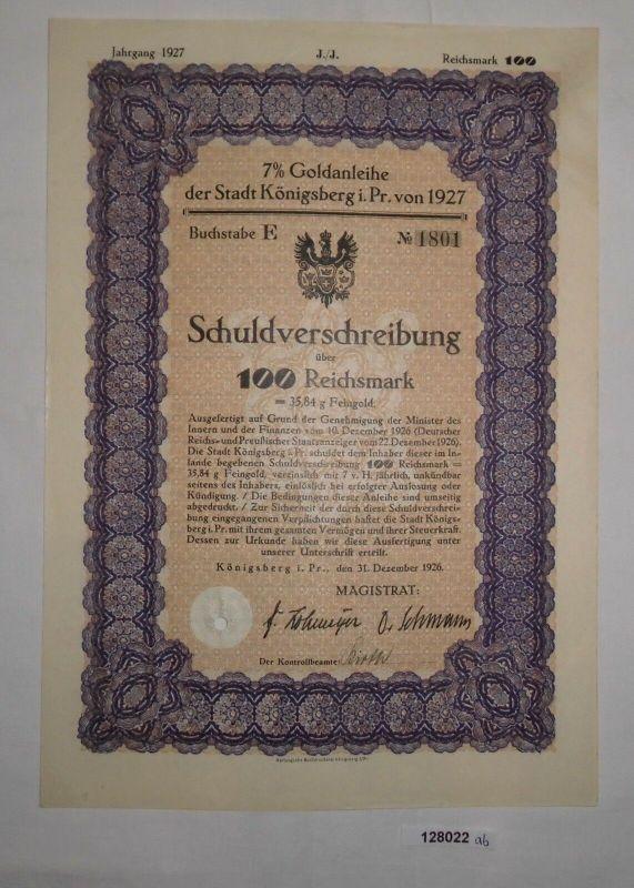 100 Reichsmark Schuldverschreibung Goldanleihe Königsberg Preußen 1927 (128022)
