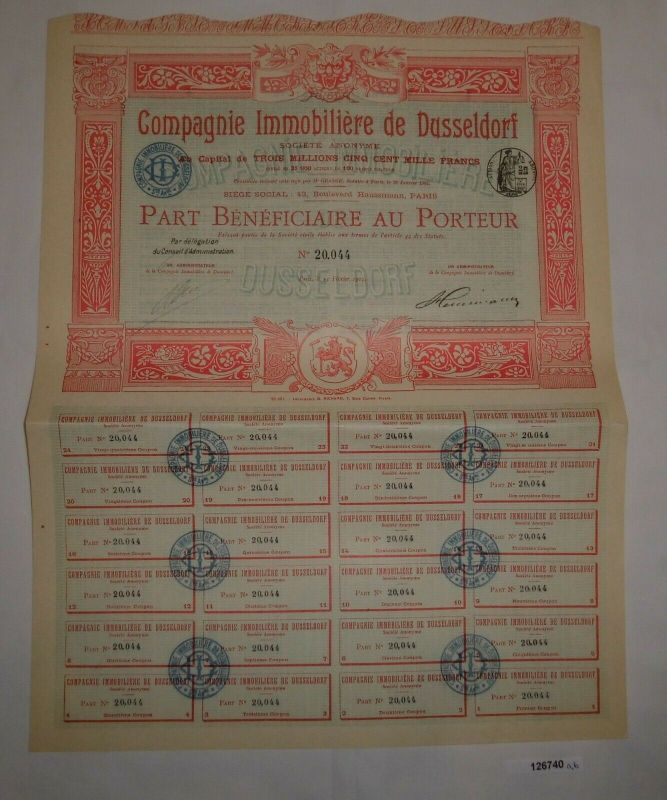 100 Franc Aktie Immobiliengesellschaft Düsseldorf Paris 15. Feb. 1905 (126740)
