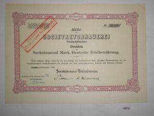 6000 RM Aktie Societaetsbrauerei Waldschlösschen Dresden Dezember 1923 (126727)