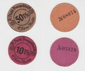 10 & 50 Pfennig Banknoten A.Diehl Baugeschäft Essen Ruhr  (130108)