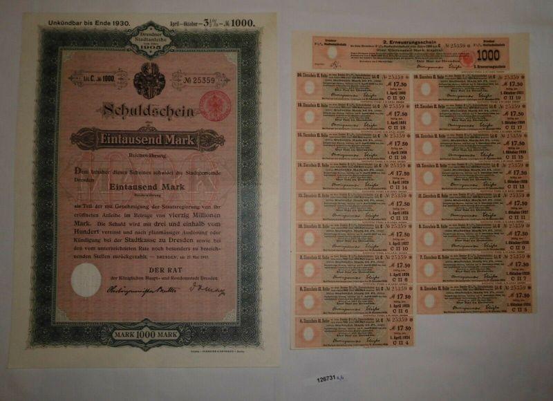 1000 Reichsmark Schuldschein Dresdner Stadtanleihe 27. Mai 1905 (126731)