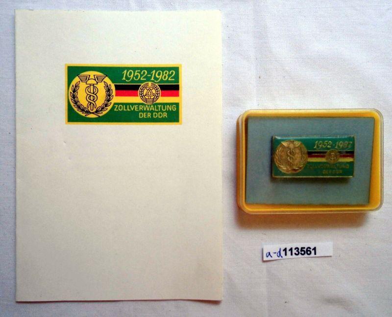 DDR Erinnerungsabzeichen 30 Jahre Zollverwaltung im Etui + Urkunde (113561)