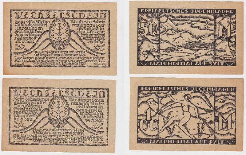 50 & 100 Mark Banknoten Freideutsches Jugendlager Klappholttal auf Sylt (130146)