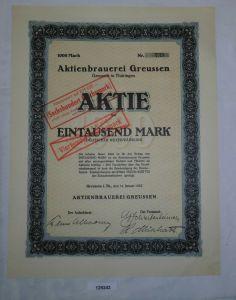 1000 Mark Aktie Aktienbrauerei Greussen in Thüringen 14. Januar 1922 (129243)