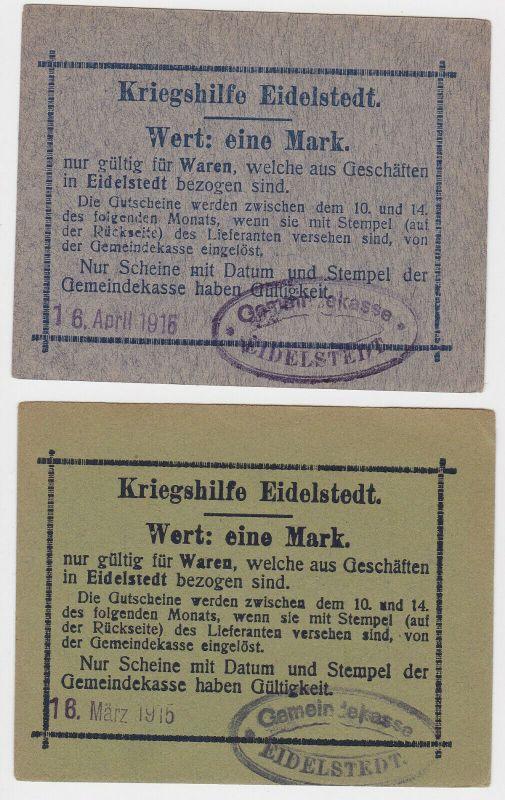 2 x 1 Mark Banknoten Kriegshilfe Eidelstedt 16.April 1916 (130058)