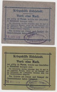 2 x 1 Mark Banknoten Kriegshilfe Eidelstedt 16.April 1916 (130058)
