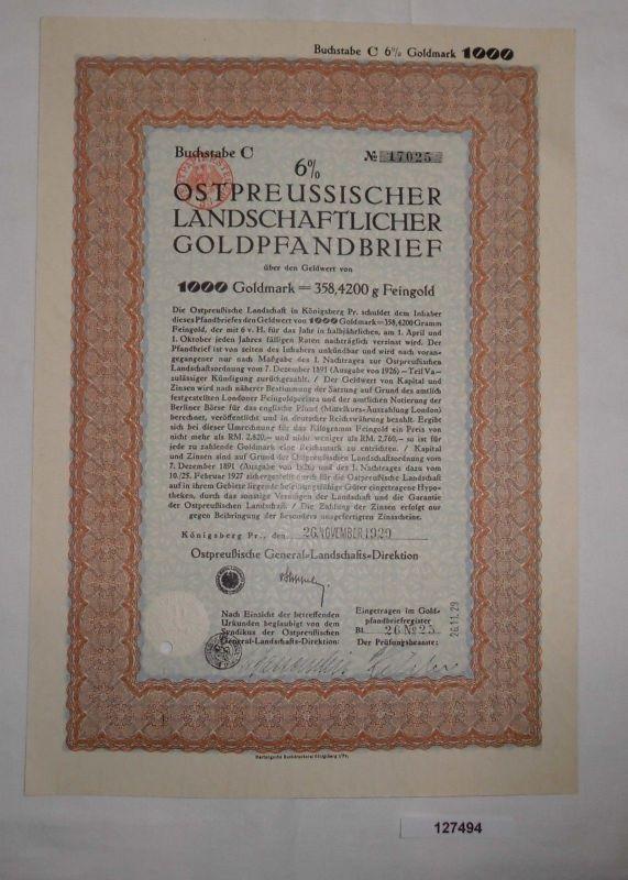 1000 Goldmark Pfandbrief Ostpreussische General-Landschafts-Direktion (127494)