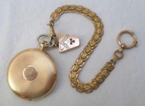 Elegante Herren Taschenuhr Gold Marke Cyma mit Kette (MU3307)