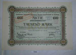 1000 Mark Aktie Gorkauer Societäts-Brauerei AG Gorkau 16. Juni 1921 (129255)