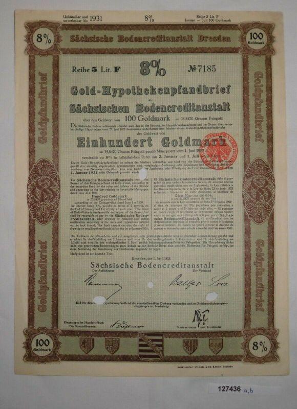 100 Goldmark Pfandbrief Sächsische Bodencreditanstalt Dresden 1.4.1925 (127436)