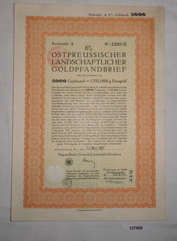 5000 Goldmark Pfandbrief Ostpreussische General-Landschafts-Direktion (127989)
