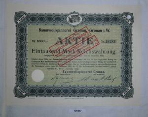 1000 RM Aktie Baumwollspinnerei Gronau in Westfalen 31. Dezember 1922 (129247)