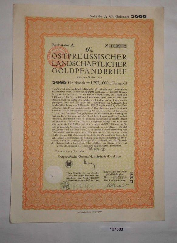 5000 Goldmark Pfandbrief Ostpreussische General-Landschafts-Direktion (127503)