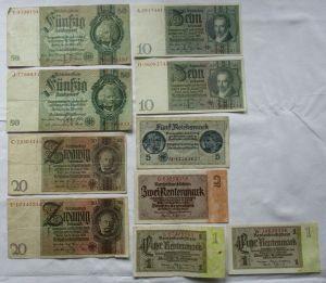 10 alte Banknoten Deutsches Reich 1 bis 50 Mark (124768)