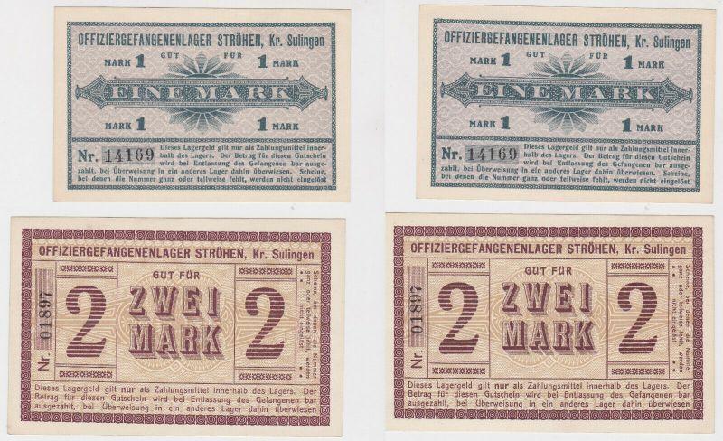 1 & 2 Mark Banknoten Offiziersgefangenenlager Ströhen Kreis Sulingen (130389)