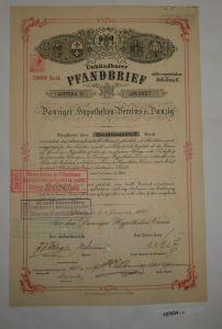 2000 Mark unkündbarer Pfandbrief Danziger Hypotheken-Verein 2.Jan. 1897 (127434)