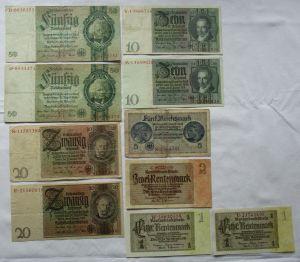 10 alte Banknoten Deutsches Reich 1 bis 50 Mark (121430)