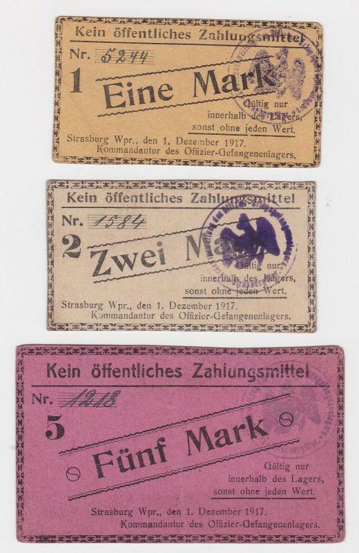 3 Banknoten Offiziersgefangenenlager Strasburg Westpreußen 1917 (130057)